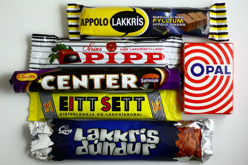 Different types of Icelandic licorice.
