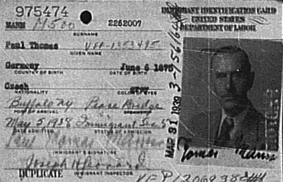 Thomas Mann's Immigrant Identification Card.