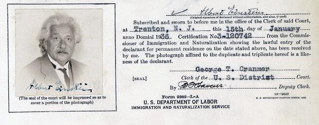 Albert Einstein's Declaration of Intention from 1936.