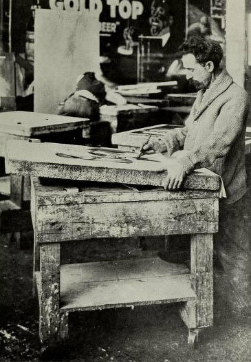 A lithographer at work in Cleveland, 1916.