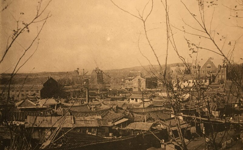 A view toward the north of Pyongyang, showing Union Christian College and its American-style buildings in the 1930s,