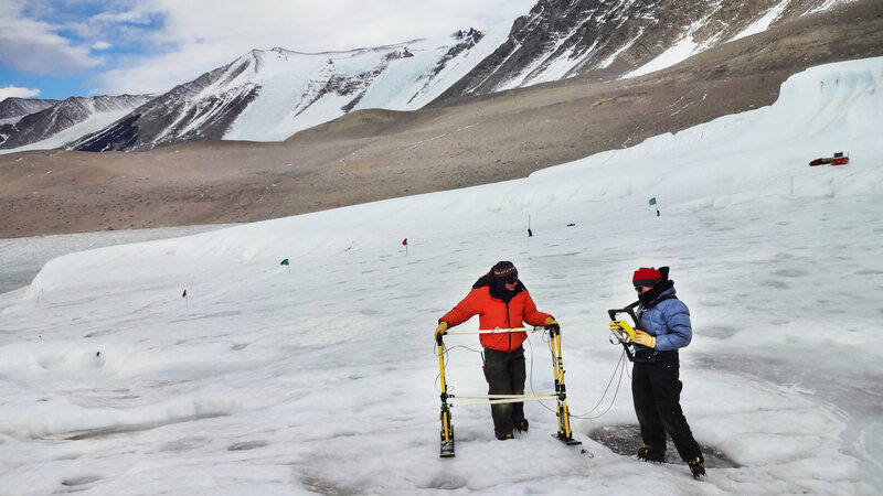 Researchers using radio echoes to see inside a glacier.