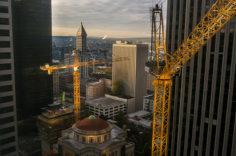 Construction in downtown Seattle.