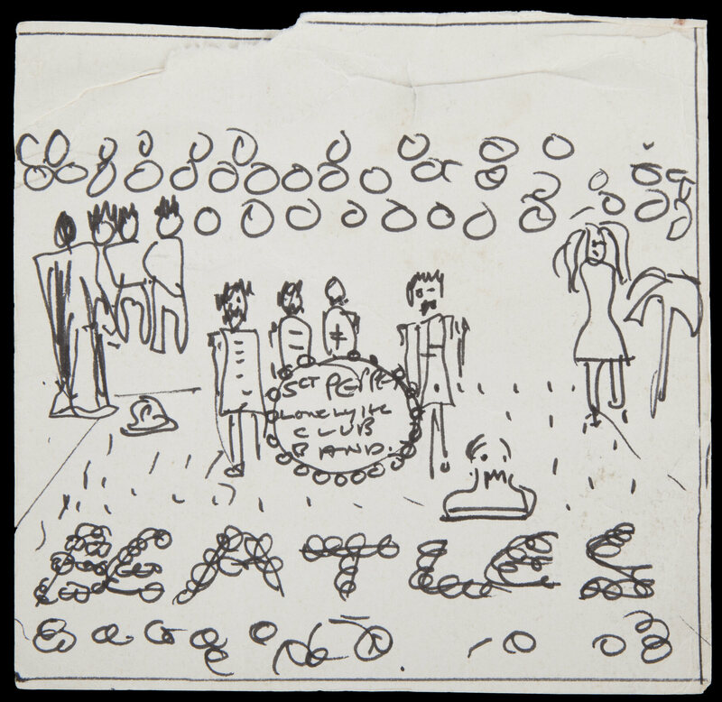Lennon's sketch of the album cover.