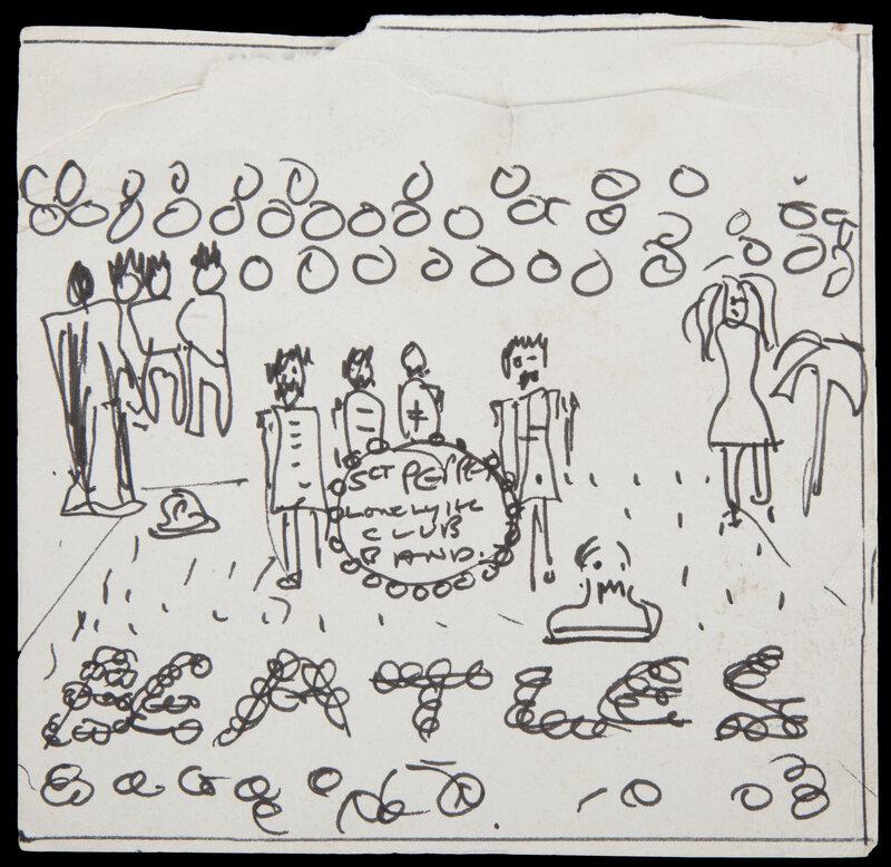 Lennon's sketch of the album cover.