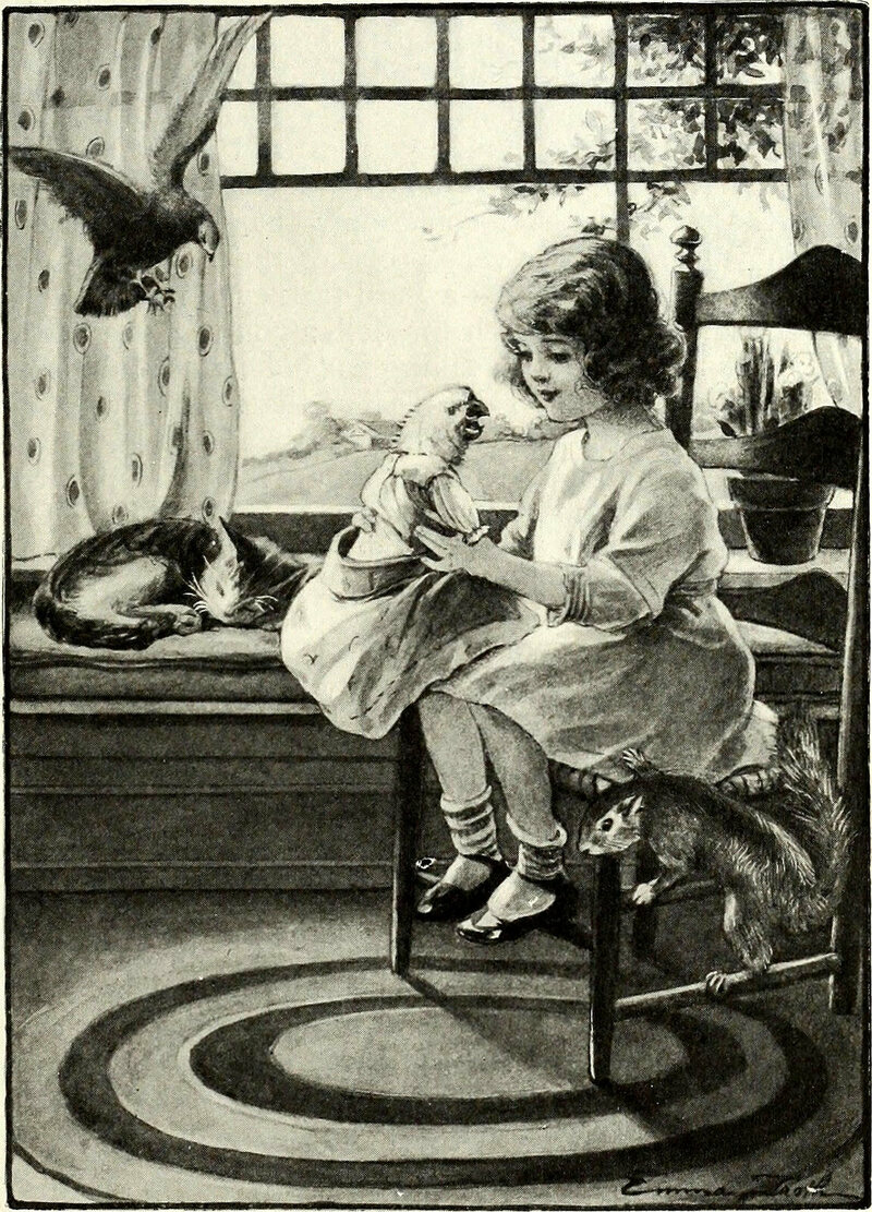 A girl with a pet squirrel - and parrot, cat and pigeon.