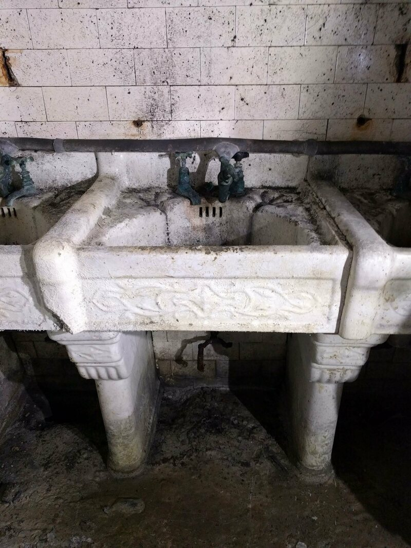 The design of the sinks is unusually ornate.