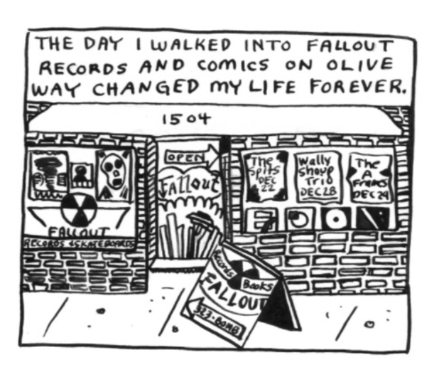 A comic by Kelly Froh included in <em>Ghosts of Seattle Past</em>, about Fallout Records, which closed in 2003.