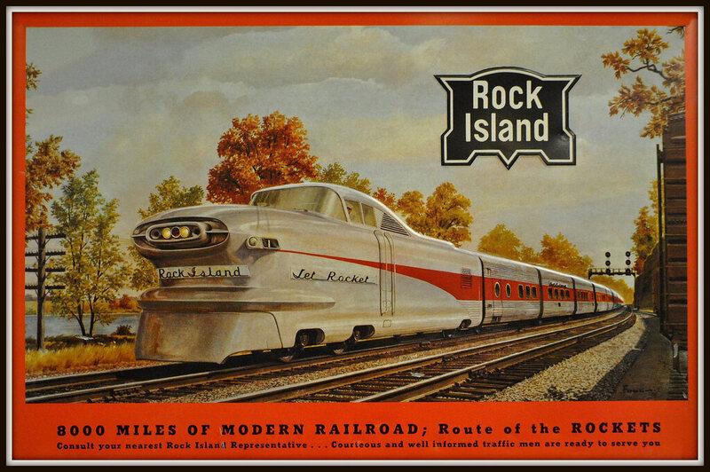 A postcard for the Rock Island, a private passenger train provider that predates Amtrak.