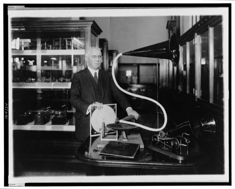 Emile Berliner, sometime between 1910 and 1929, with the first model of his gramophone.