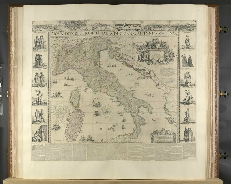 Maps of Europe are much more detailed and feature illustrations around the borders.