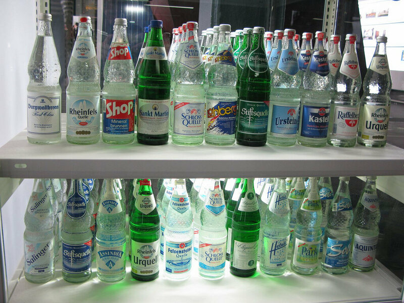 German mineral water on display at the Rurhmuseum.