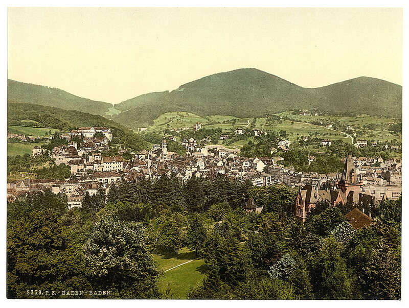 A photochrom of the spa town of Baden-Baden, Germany.