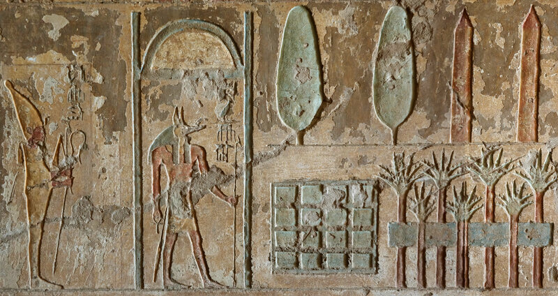 Tomb artwork depicting a funeral garden.
