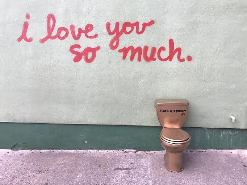 An Artfinksters toilet in Austin, Texas.