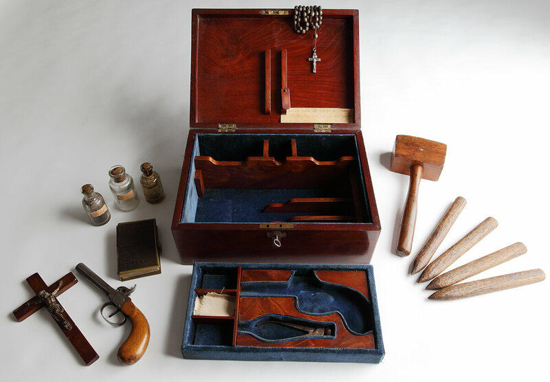 A vampire killing kit from the Royal Armouries in Leeds, not quite as vintage as some might think.