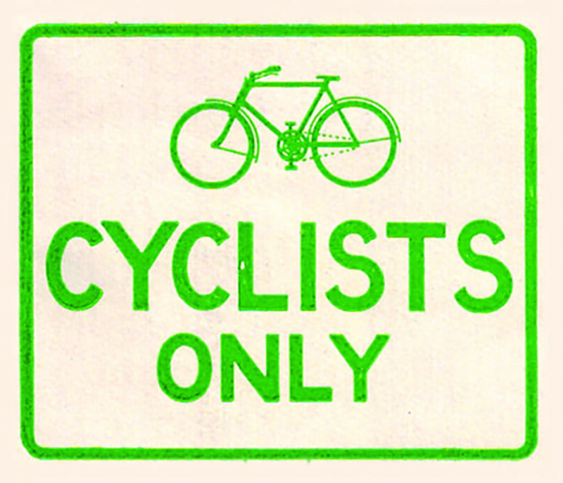 A 1930s cycling sign.