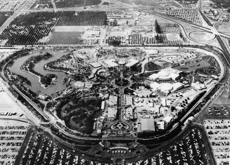 Disneyland as she was built, photographed from the air in 1956.