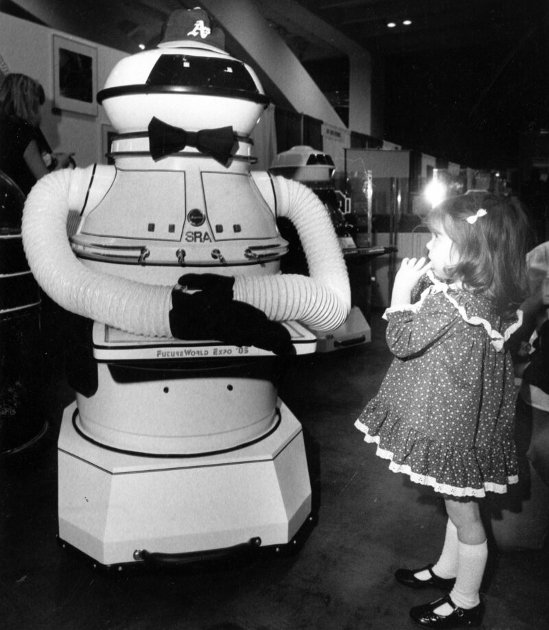 April 1, 1985: A robot makes an impression at the Future World Expo at Moscone Center.