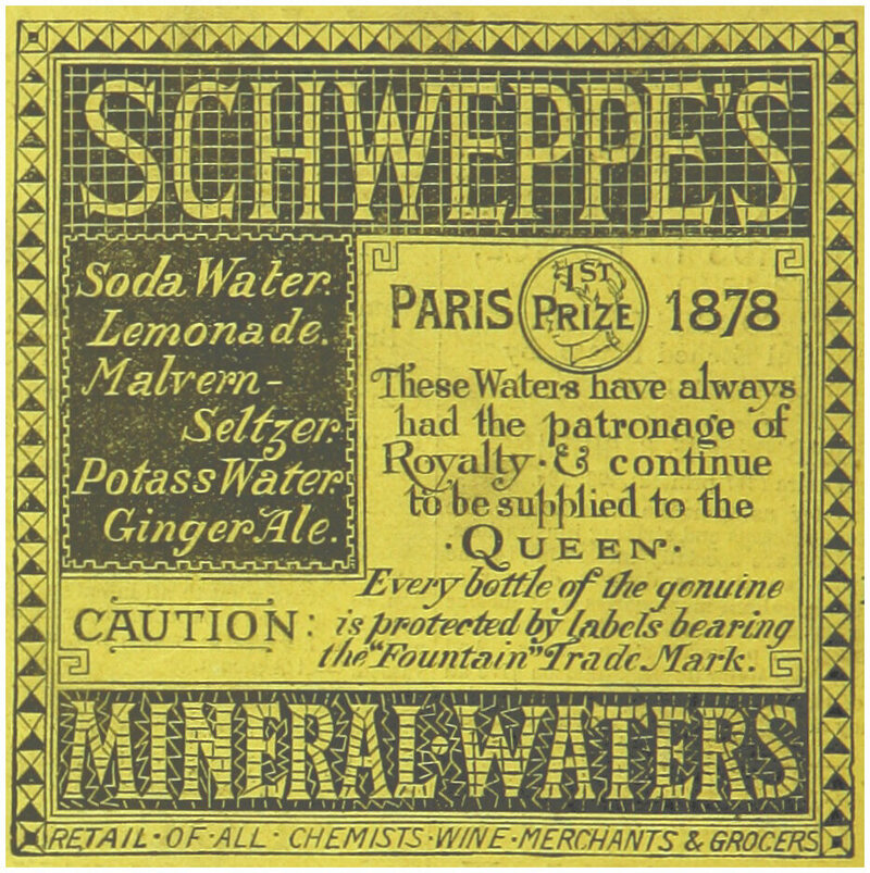 An 1883 advertisement for <em>Schweppes Mineral-Waters</em>.