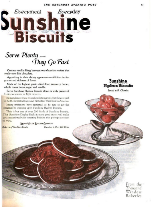 An advertisement for Sunshine Biscuits for Hydrox, from a 1922 issue of the <em>Saturday Evening Post</em>.