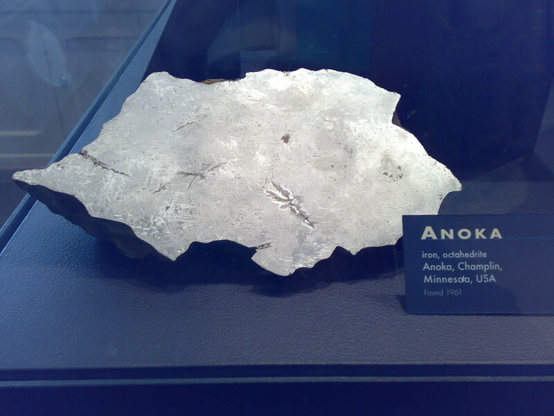 The first piece of the Anoka meteorite, found in 1961, on display at Harvard's Museum of Natural History.