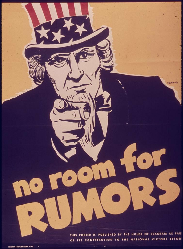 An American WWII poster cautioning against spreading rumors.