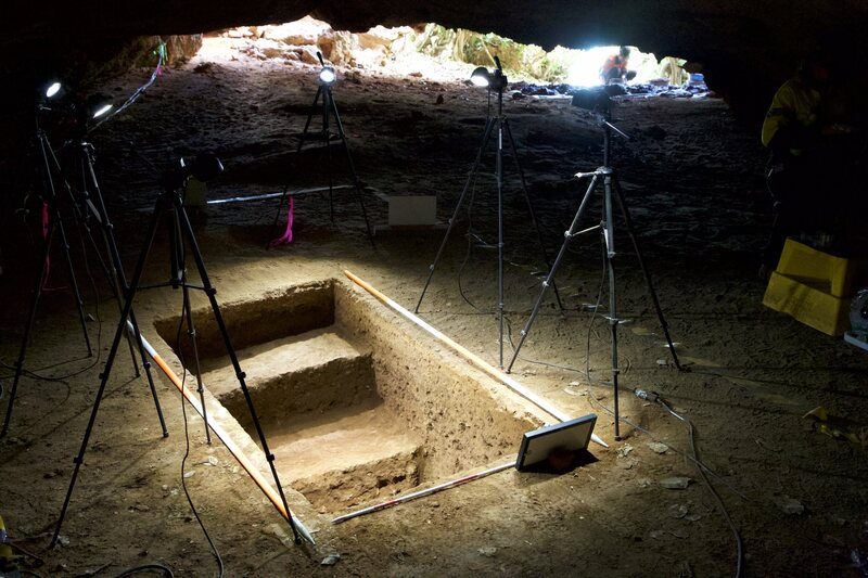 The excavation in the cave.