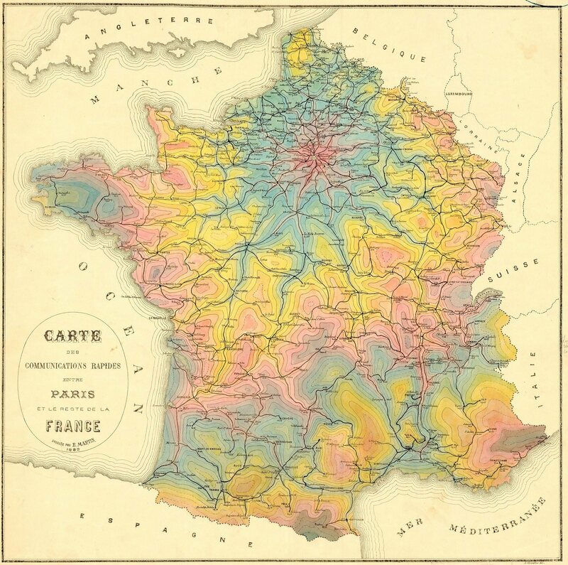 An 1882 isochrone map, showing travel times to and from Paris.