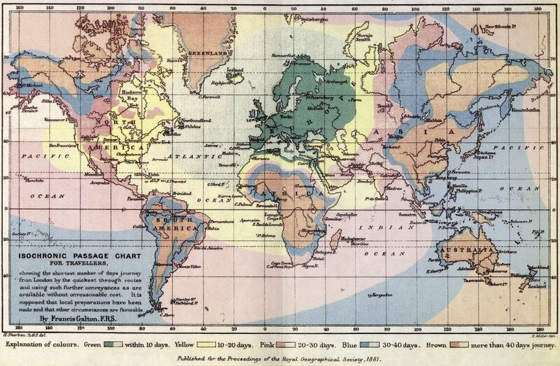 Traveling back in time with colorful isochrone maps atlas obscura francis galtons original isochronic passage chart gumiabroncs Choice Image