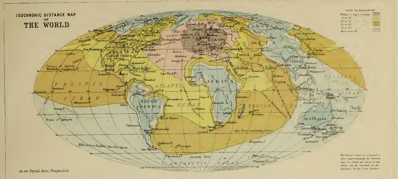 "A map showing travel times from London, from J.G. Bartholomew's 1889 ""Atlas of Commercial Geography"""