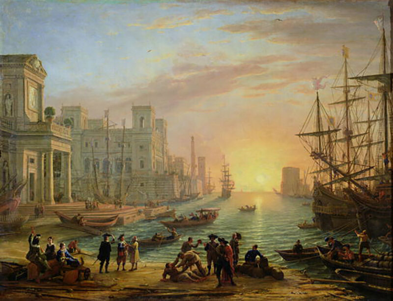 Claude Lorrain's <em>Port de Mer au Soleil Couchant</em> (Seaport at Sunset), painted in 1639.