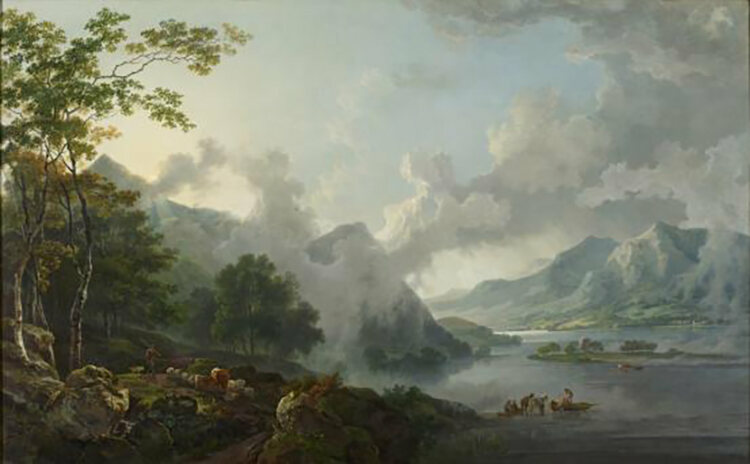 <em>View of Windermere Lake, Early Morning</em>, 1781. Lake Windermere was a favorite destination for artistic travelers.