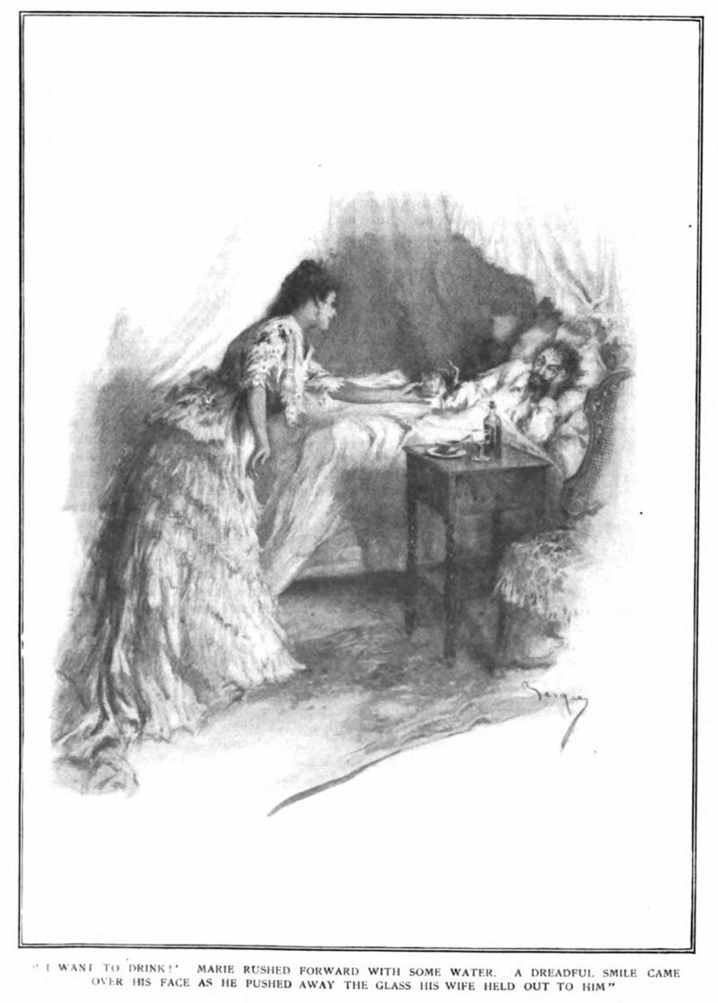"""An illustration of the Lafarge poisoning, from an article titled """"The Strange Case of Marie Lafarge"""", <em>McClure's Magazine</em>, 1912."""