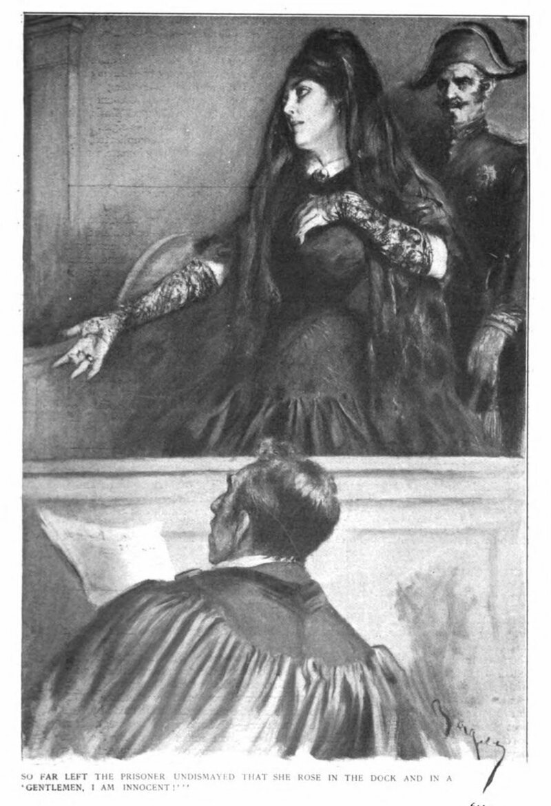 A depiction of Marie Lafarge in court, <em>McClure's Magazine</em>, 1912.