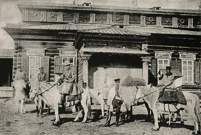 Marsden setting off from Yakutsk on horseback.