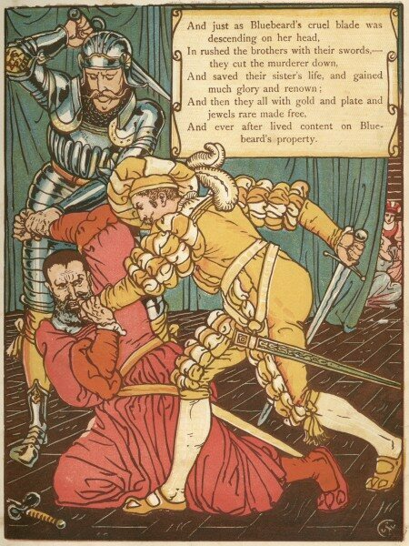 A depiction of Bluebeard's grisly end, in Walter Crane's <em>The Sleeping Beauty Picture Book</em>, 1915.