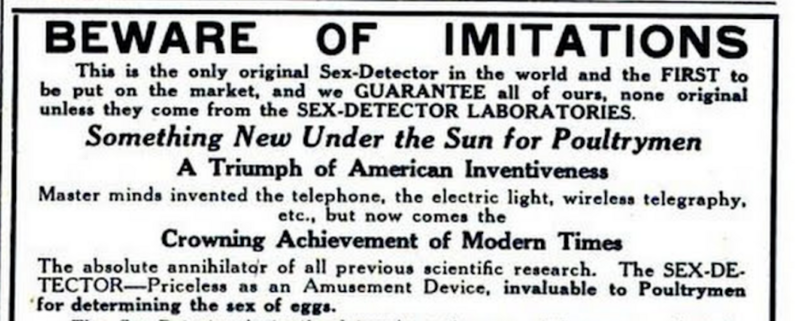A 1921 advertisement for the sex detector.