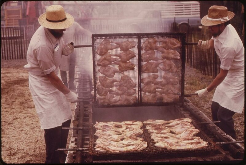 A 1973 chicken barbecue fundraiser for a fire department.