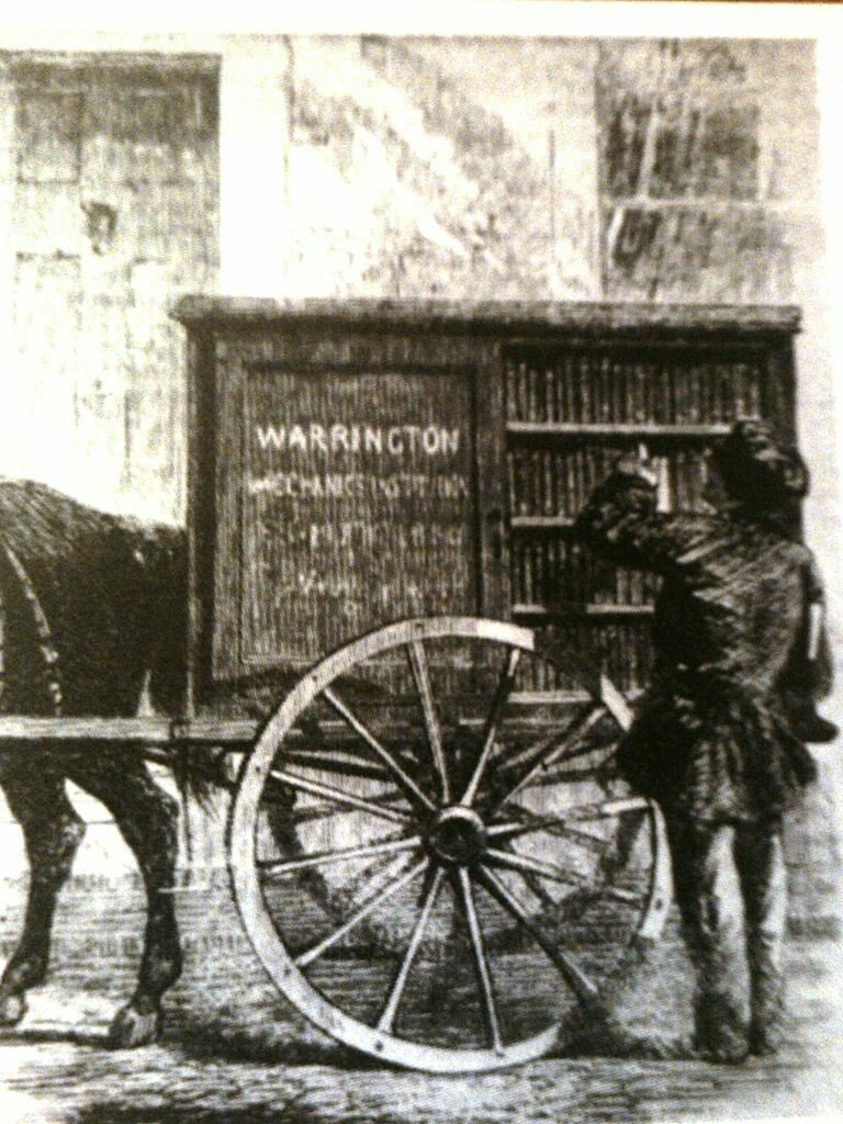 One of the earliest mobile libraries, the Warrington Mechanics' Institution Perambulating Library, from <em>The Illustrated London News</em>, 1860.