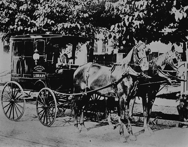 One of the earliest book wagons in the United States, the Washington County Free Library, Maryland, c. 1905.