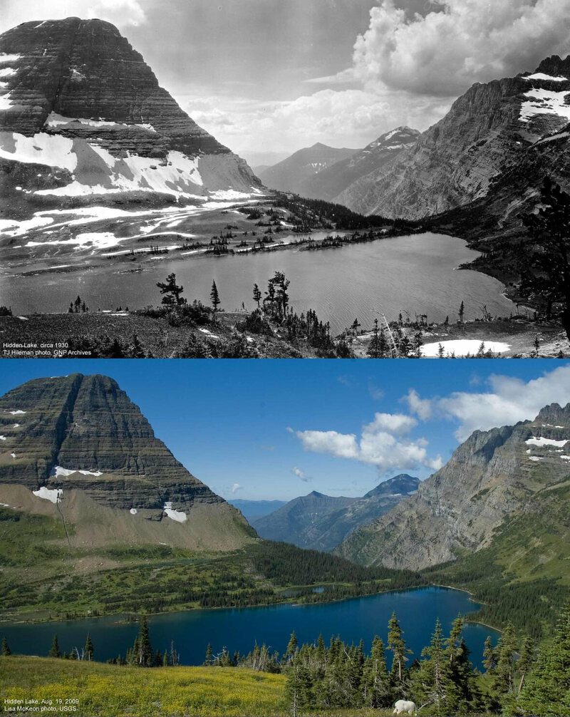 Hidden Lake at Glacier National Park in 1930 (top) and 2009 (bottom). Vegetation, particularly on the far shore, has migrated uphill.