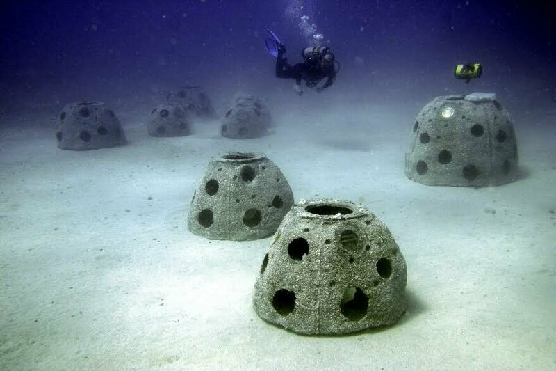 New concrete Reef Balls on the sandy sea bed