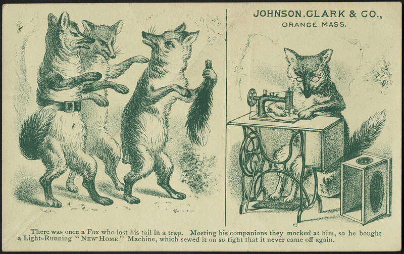 "A 19th century advertisement based on ATU tale type 64, ""Tailless Fox Tries in Vain to Get Foxes to Cut off Tails."""