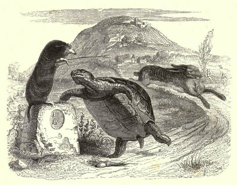 An illustration from 1855 of <em>The Tortoise and the Hare</em>.