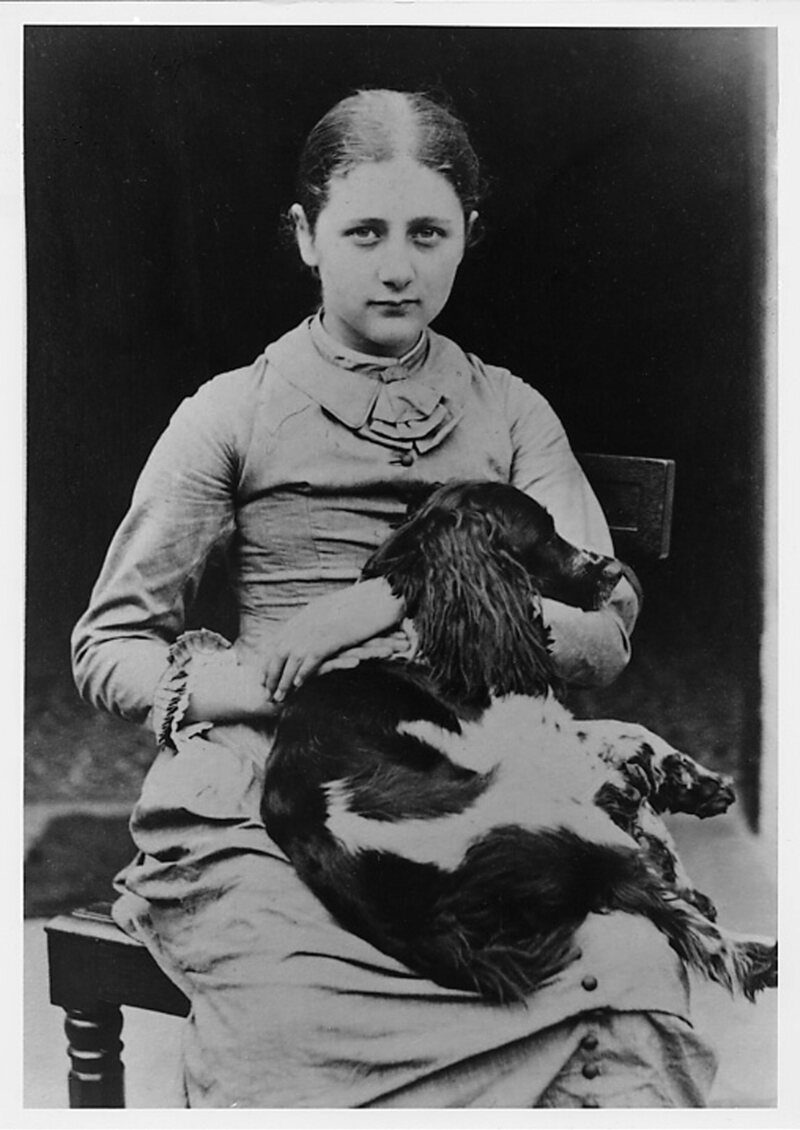 Beatrix Potter with her dog.