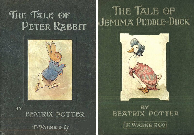 First edition covers for <em>The Tale of Peter Rabbit</em> (1902) and <em>The Tale of Jemima Puddle-Duck</em> (1908).