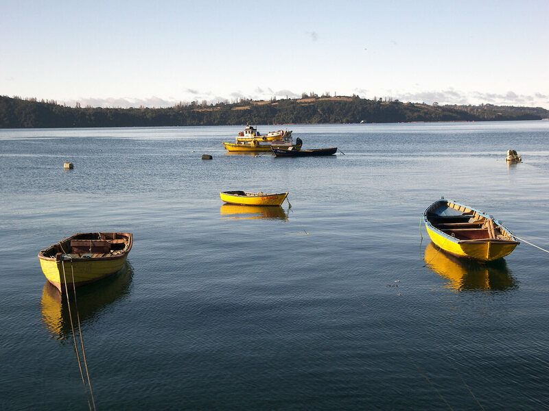 Boats in Chiloe Island, Chile.