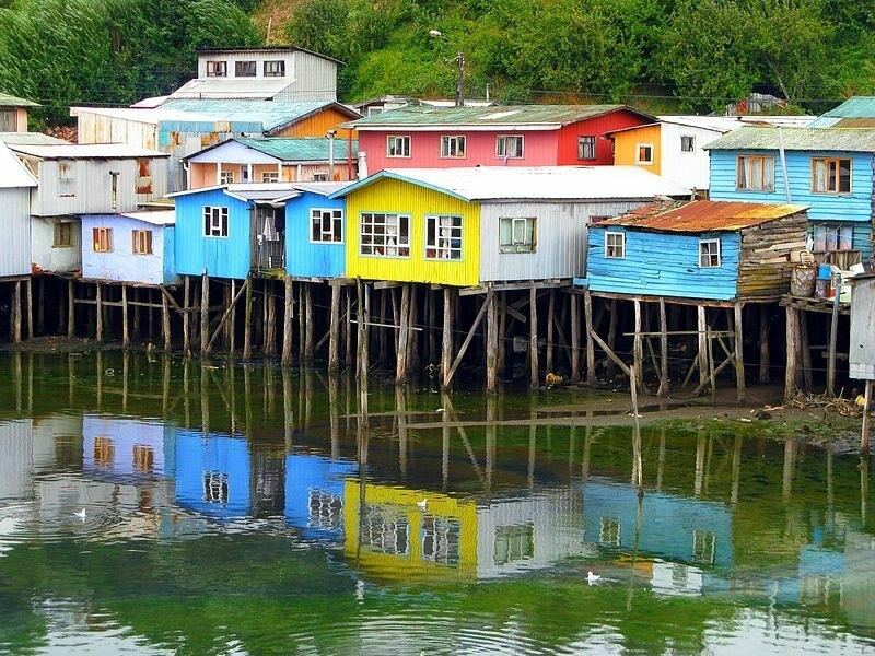 <em>Palafitos</em> on Chiloe Island.
