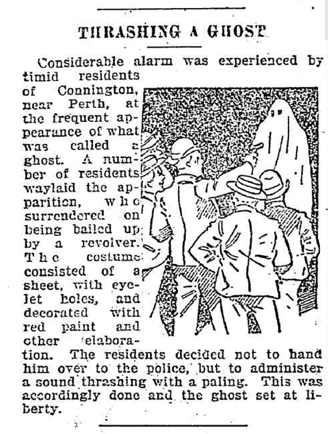 "An article from the <em>Australian Sunday Times</em>, November 27, 1898, about a ghost hoaxer who ""surrendered being bailed up by a revolver."""